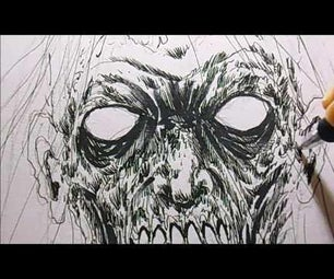 How to Draw a Death Metal Zombie Head in Black Ink