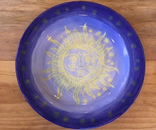 Screen Printed Sun & Moon Ceramic Bisque Plate
