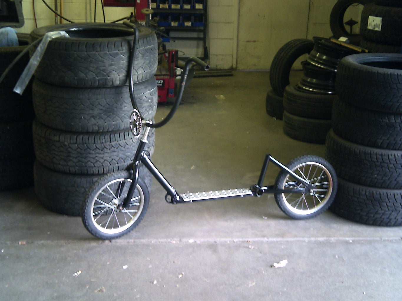 Push Scooter From an Old Bicycle and Salvaged Parts