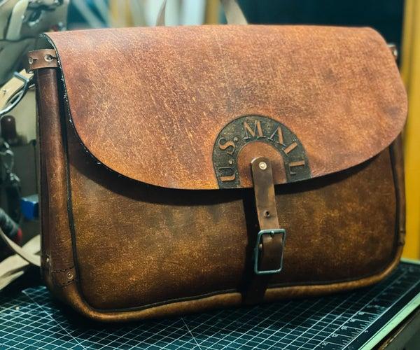 Vintage Laser-Cut Leather US Mail Bag