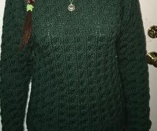 Cable Knit Sweater (size Small for Teenage Girl) (written for Hand Knitting)