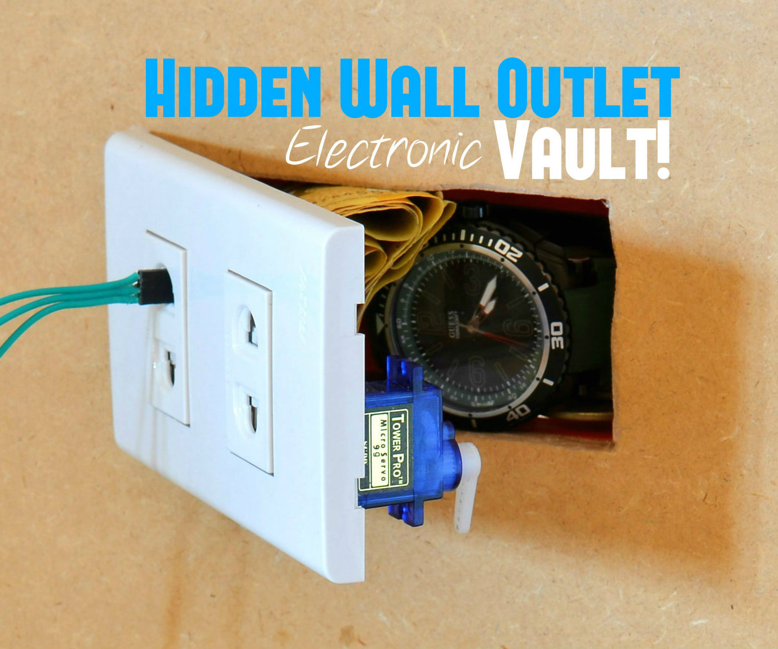 Hidden Wall Outlet Safe (w/Arduino Lock)