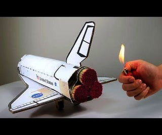 Matches Powered Cardboard Space Shuttle