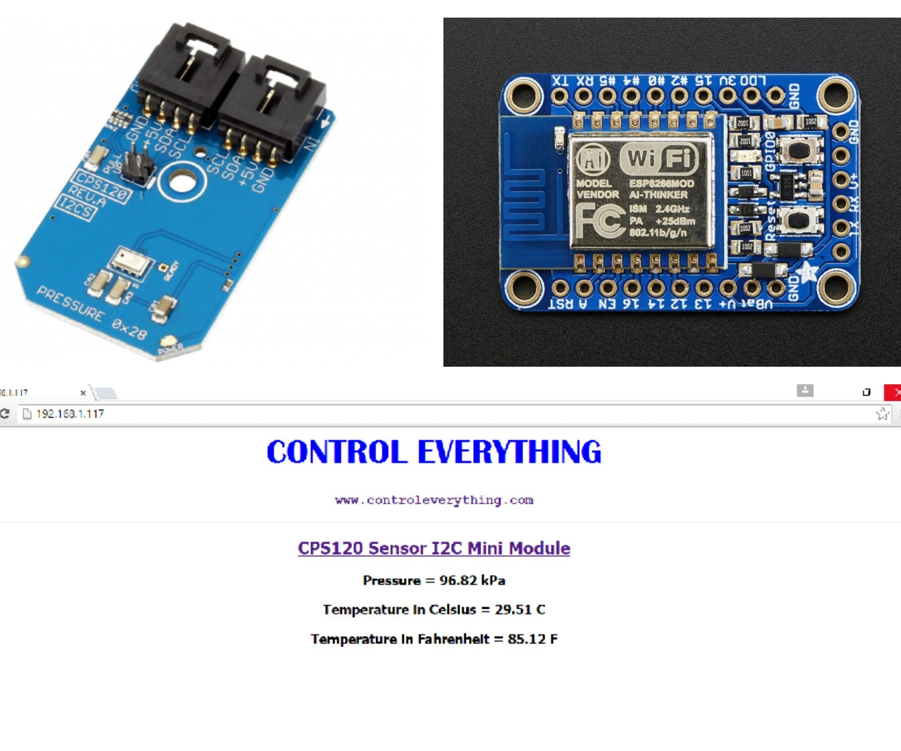 Pressure and Temperature Monitoring Web Server using ESP8266 and CPS120