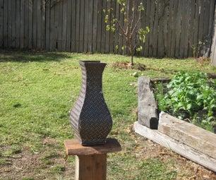 Steel Chequer Plate Garden Vase