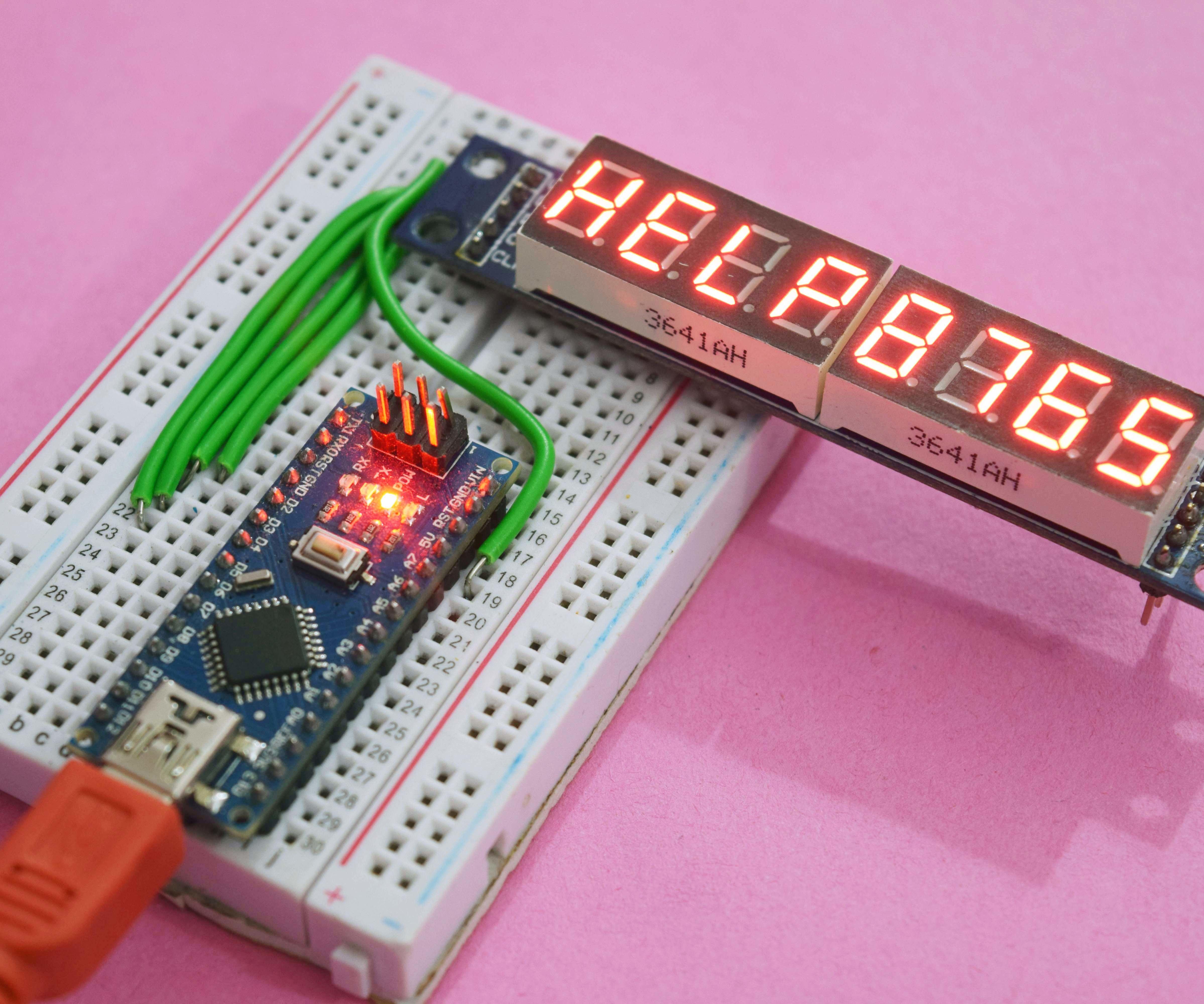 8 Digit Seven Segment Display - Arduino Nano