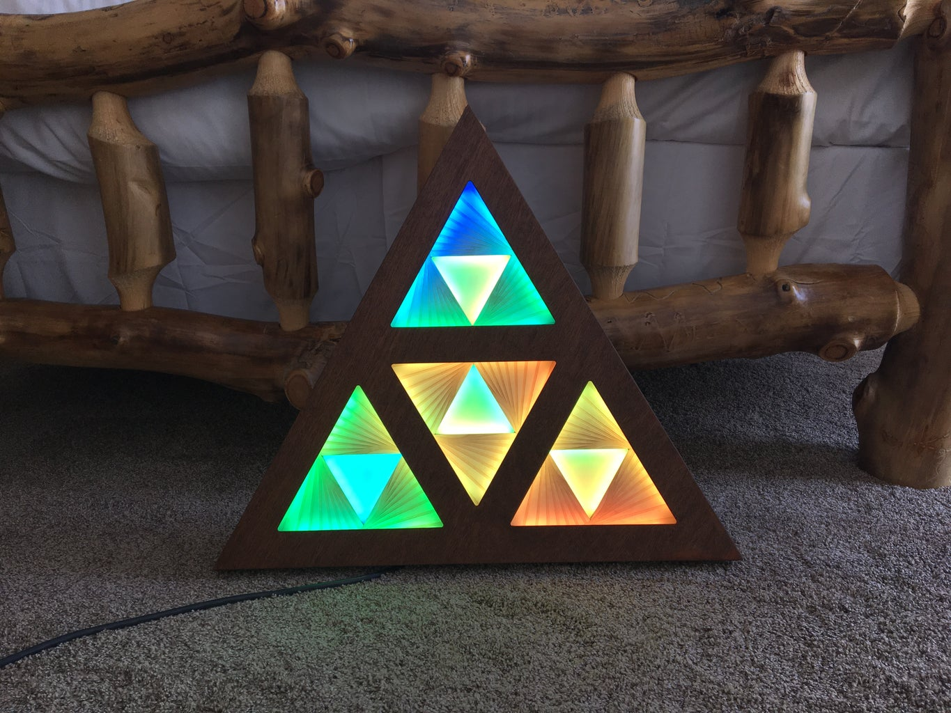 Layered Lights in Wooden Frame