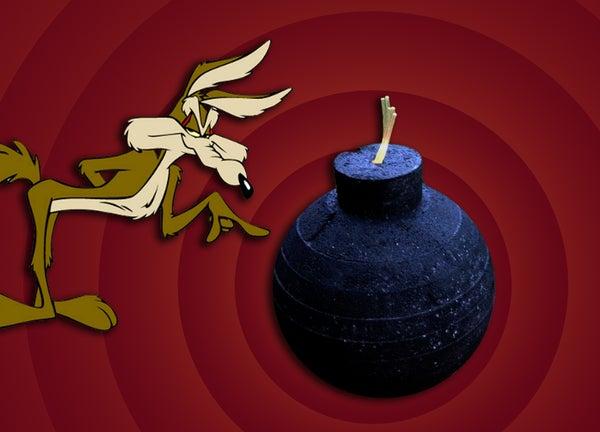 Cartoon Bomb With Illuminating Fuse
