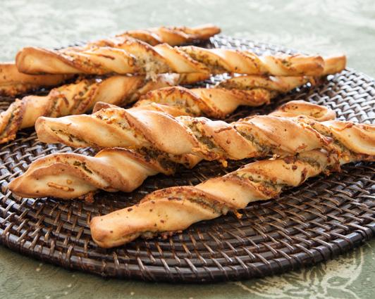 Twisted Pesto Breadsticks