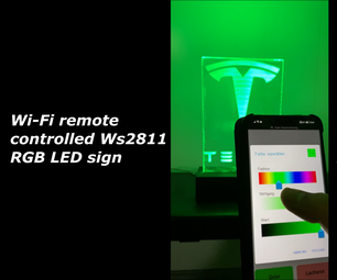 Wi-Fi Remote Controlled Ws2811 RGB LED Sign With ESP8266