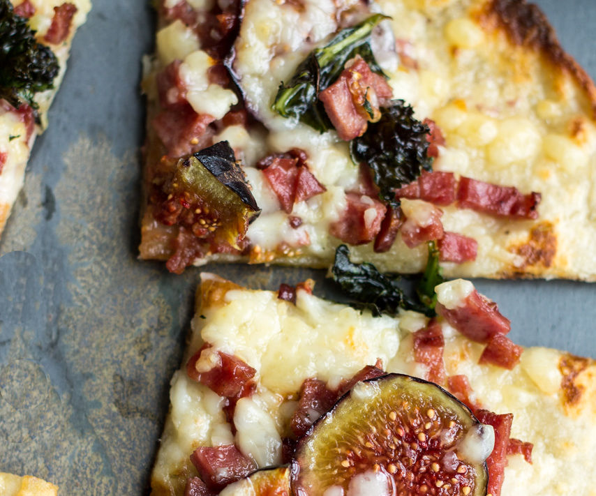 Amazing Flatbread Topped With Duck Bacon and Figs