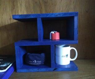 Blue Floating Plywood Shelf