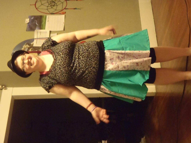 Gored Skirt With 2 Fabrics.