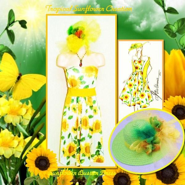 Tropical Sunflower Bustier Dress creation