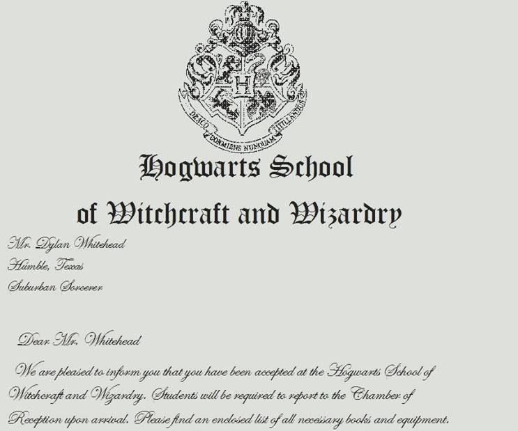 Make Your Own Hogwarts Acceptance Letter
