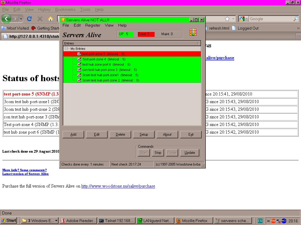 Home 10 zone monitor/alarm system using SNMP ethernet hubs.