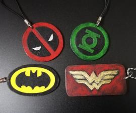4 Paper Superhero Keychains