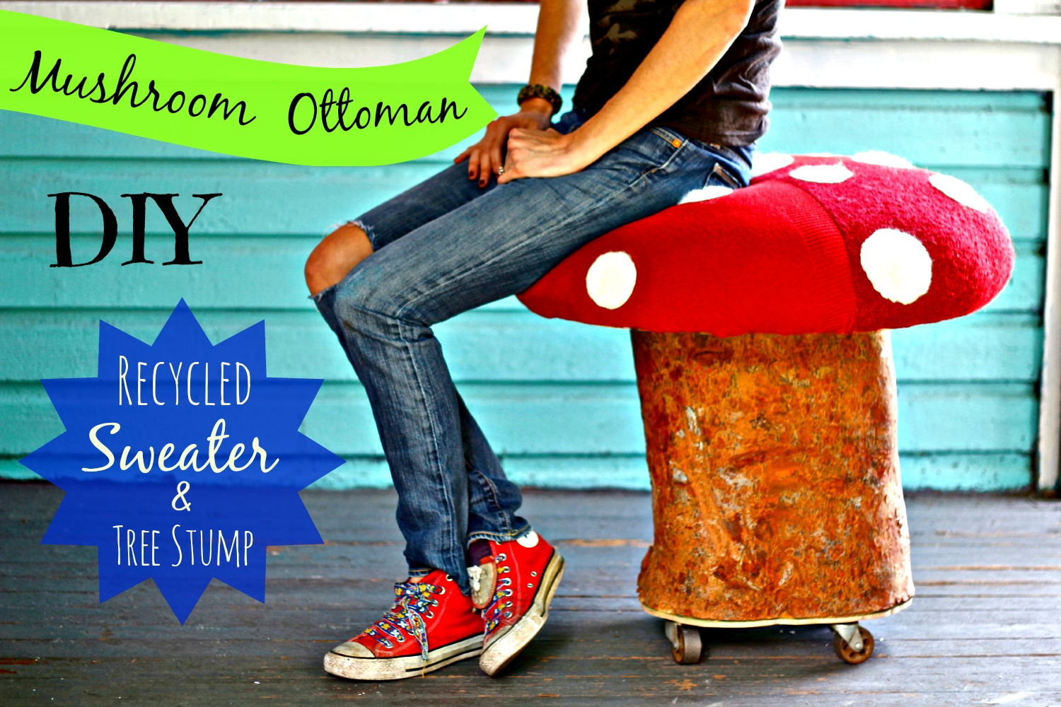 Make this Mushroom Ottoman from a tree stump and thrift store sweaters