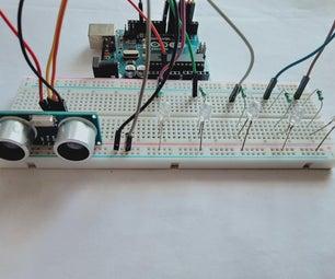 Arduino Distance Indicator (arduino + Ultrasonic Sensor +LED )