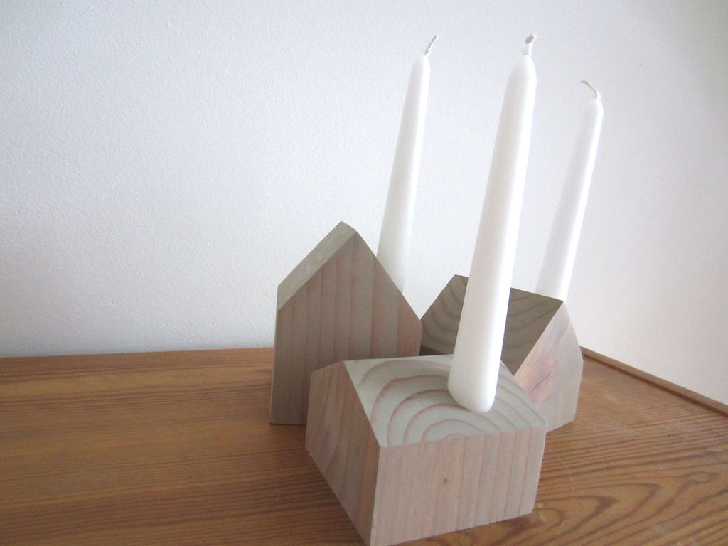 EASY SET OF 3 CANDLEHOLDERS (Little Houses)