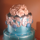 Blue and Silver Scroll Cake