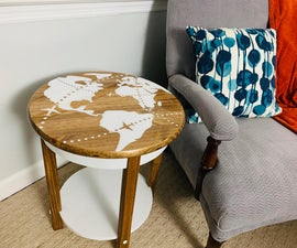 World Map End Table | Made With a Cricut!