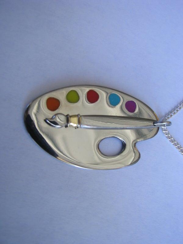 Paintbrush and Palette Pendant