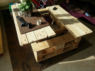 Multifunction Coffe Table With Storage, Slide Out and Lift. Build From Euro Pallets