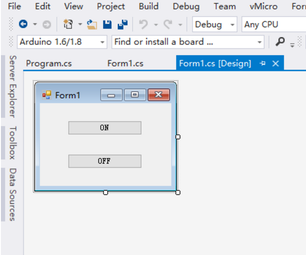 C# Arduino GUI to Control the LED
