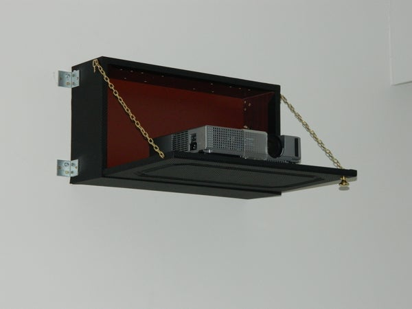 "DIY ""Hidden"" Video Projector Folding Shelf, Carbon Fiber Look"
