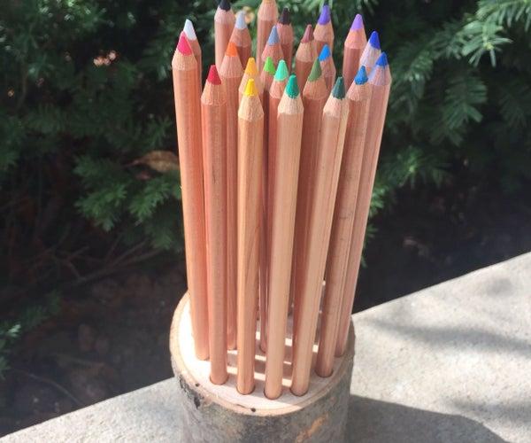 Rustic Log Pencil Holder