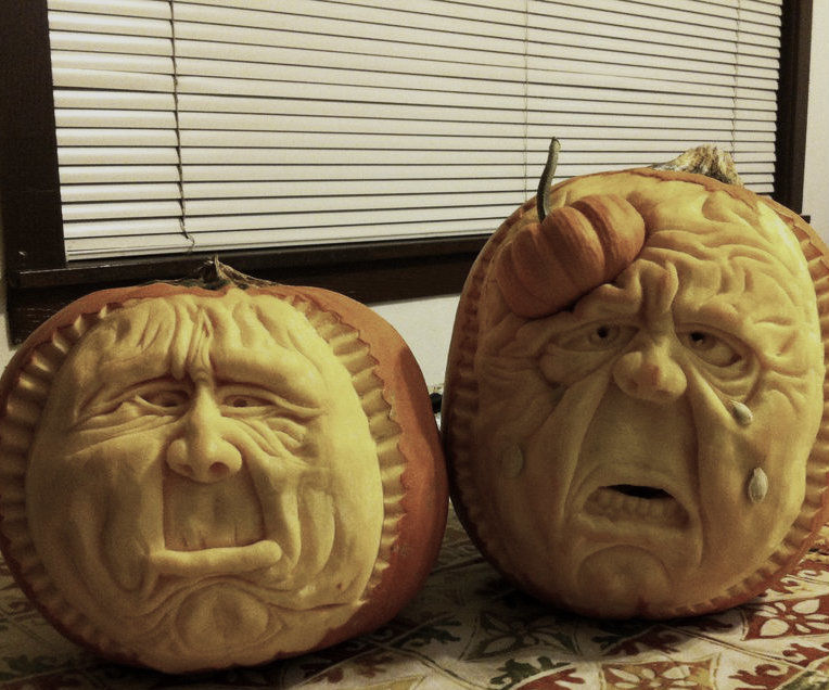 Sculpting pumpkin Brothers.