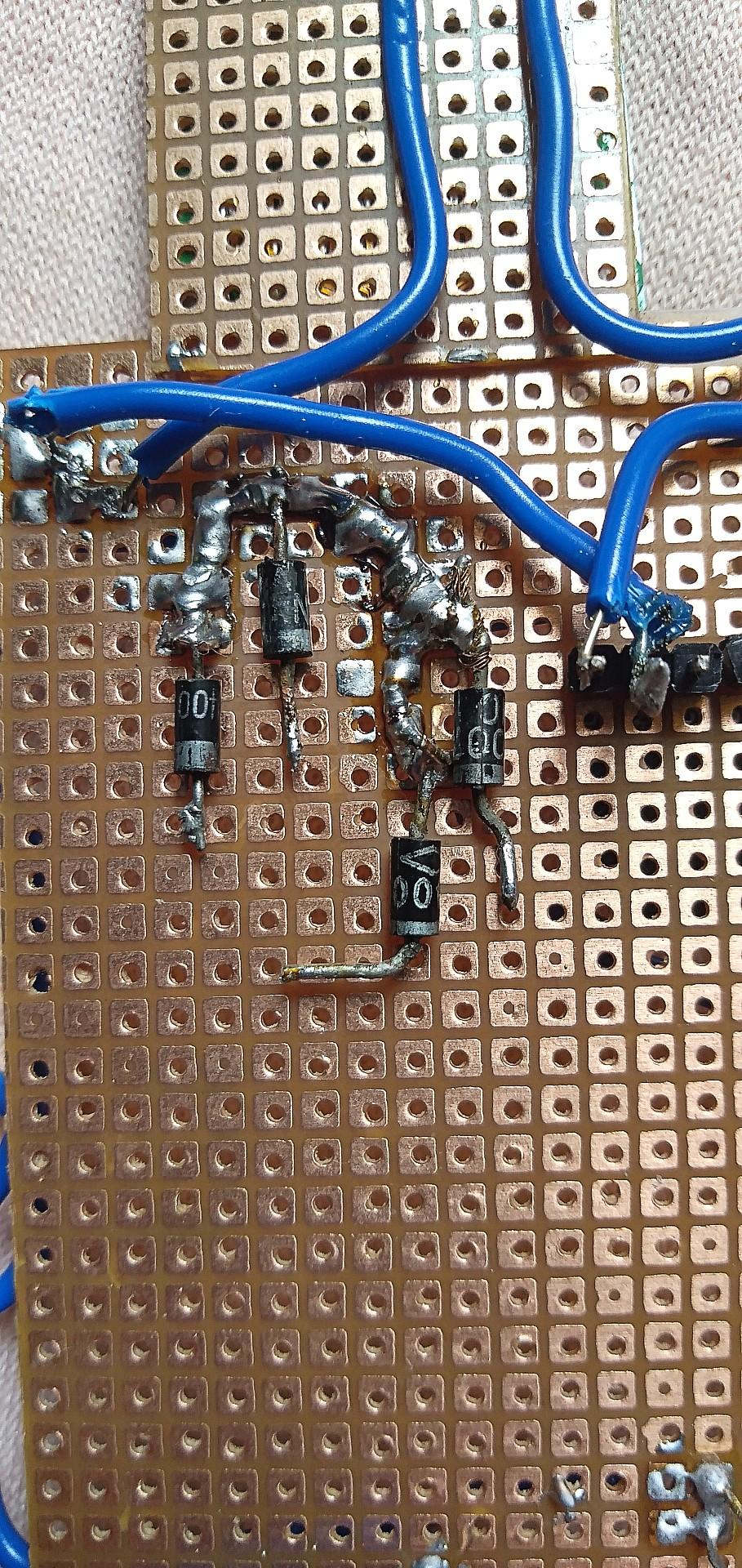 Hardware: PerfBoard Assembly (Diodes and Resistors)