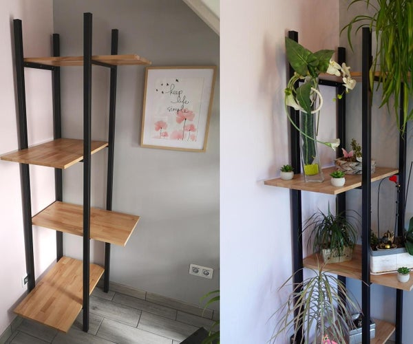 Corner Shelf for Plants in Wood and Metal