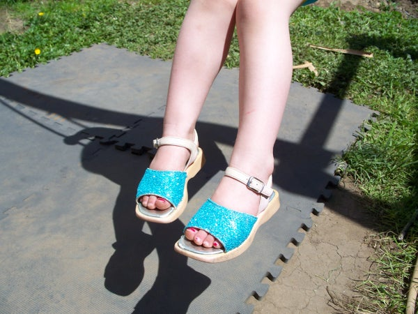 GLITTER SHOES -Recycled From Ugly Worn Out  Looking Shoes