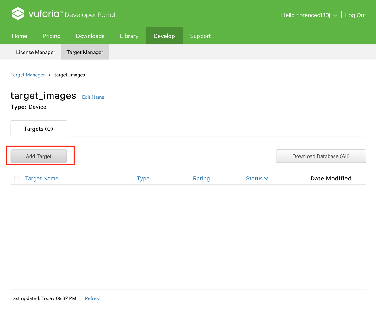 Create Target Images Database on Vuforia