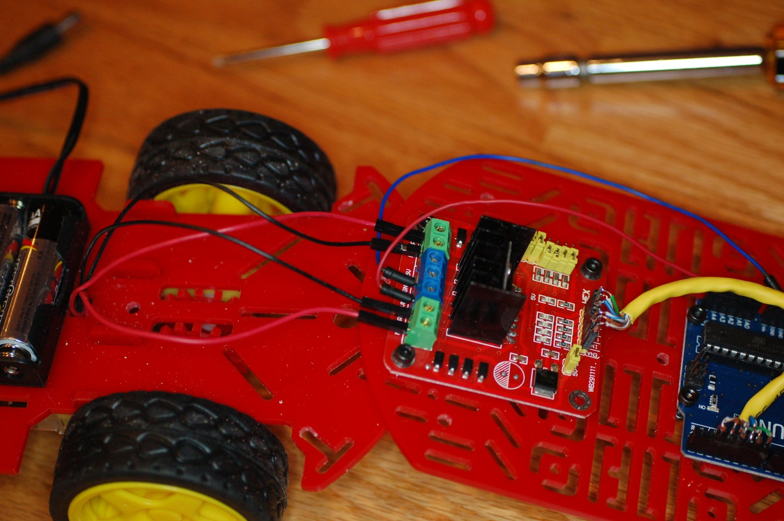 Attach the Leads From the Microcontroller to the Motor Driver