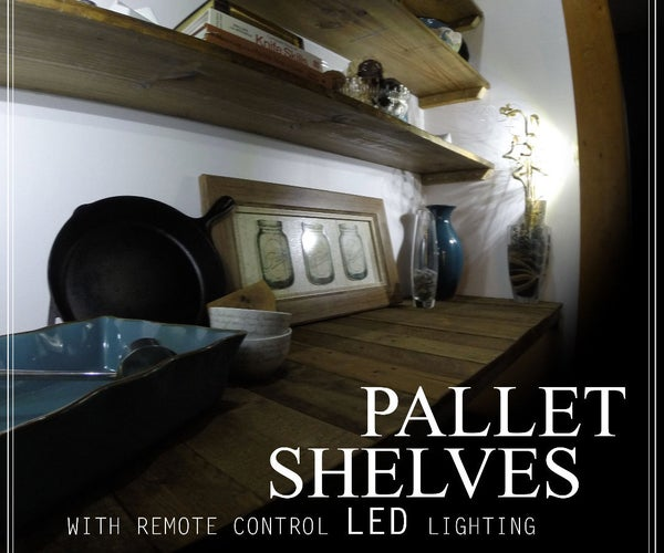 RUSTIC PALLET SHELVES - With Remote Control LED Lighting