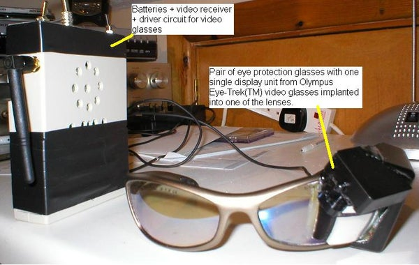 Glasses Mounted Video Display to One Eye - Turn Yourself Into a Borg