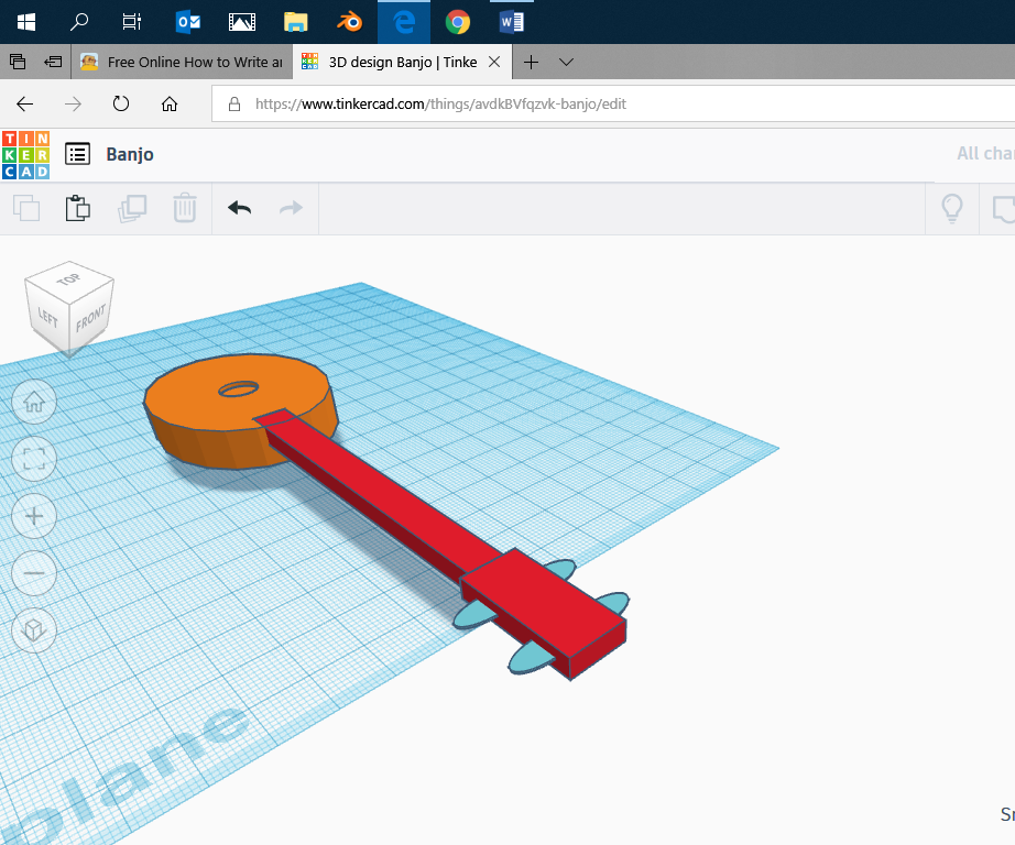 Make a Toy Banjo on Tinkercad