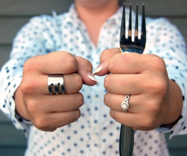 25 Cent Fork Ring