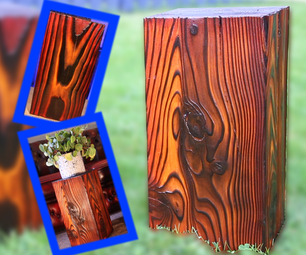 Burned and Stained Wood Stools