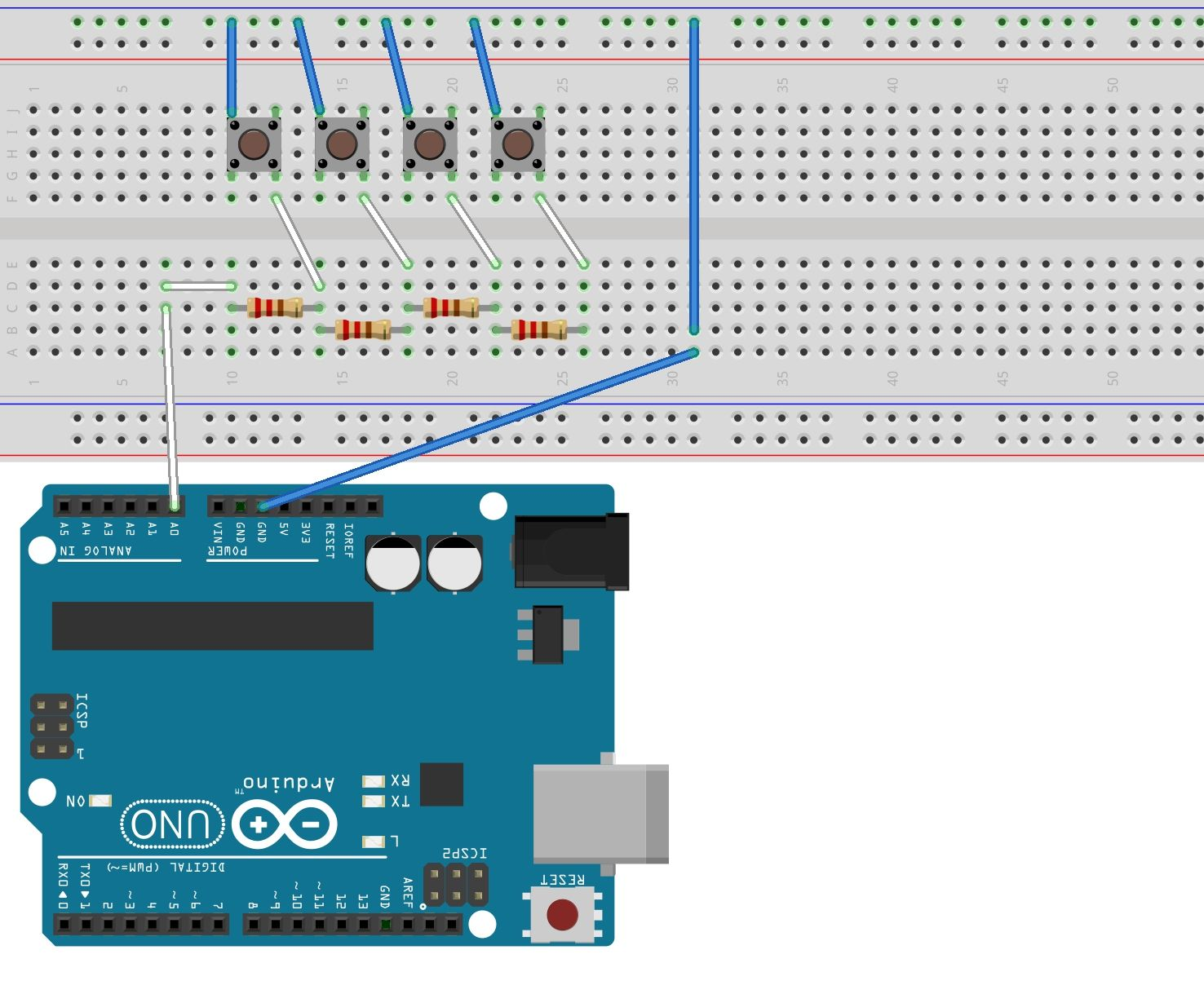 Using one analog pin to read 4 buttons - Arduino