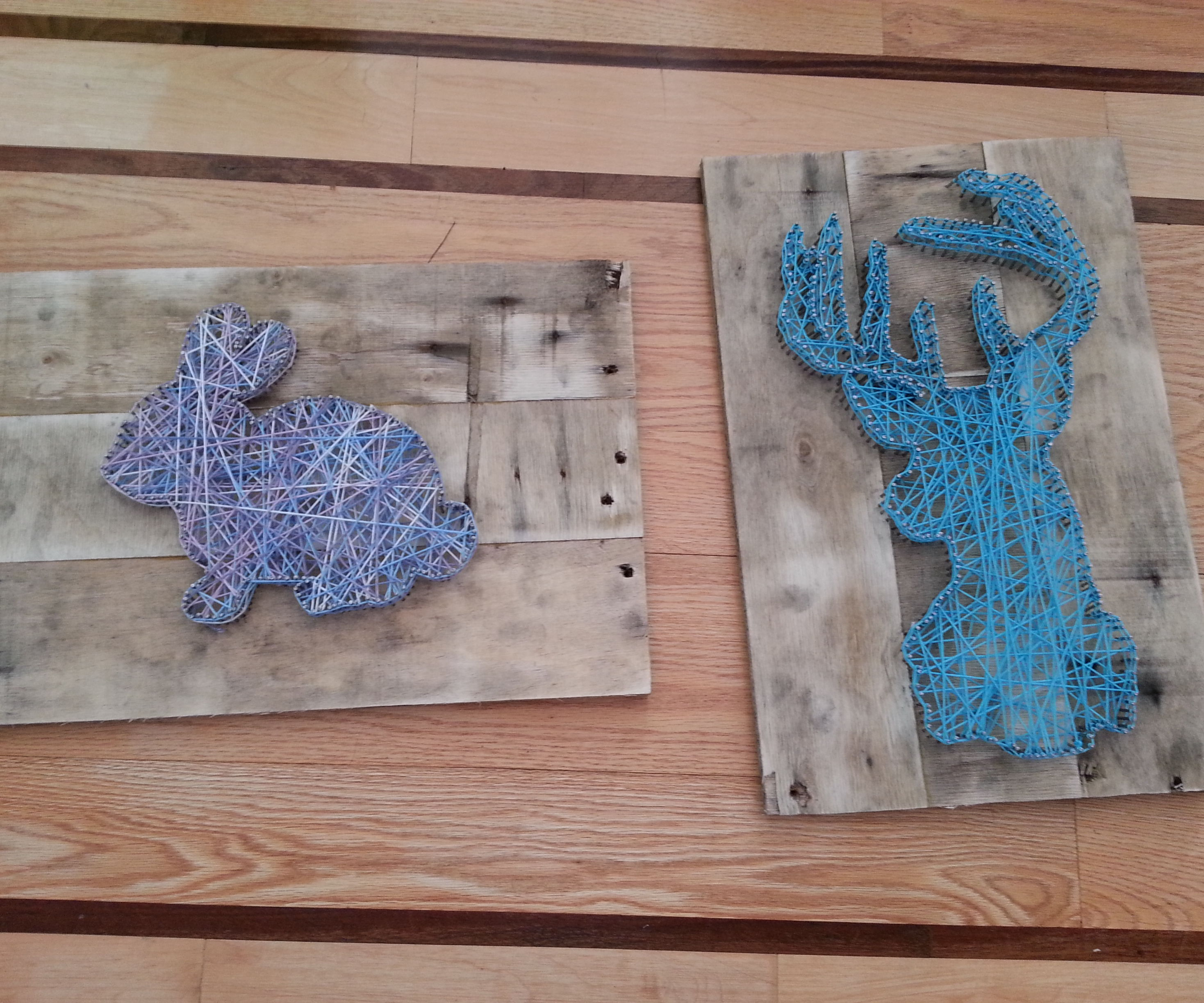 Nail String Art using reclaimed wood