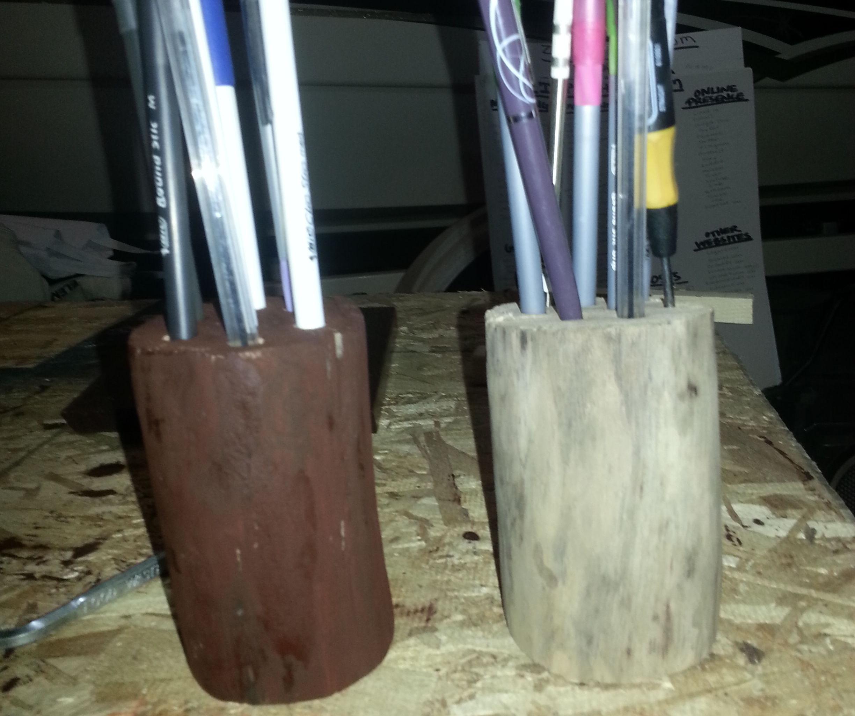 Log pencil holder