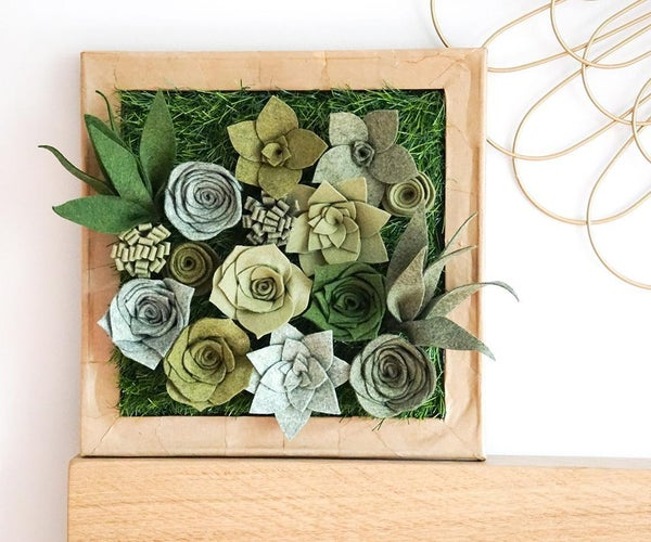 DIY Felt Succulent Display   How to Make Faux Plant Wall Art