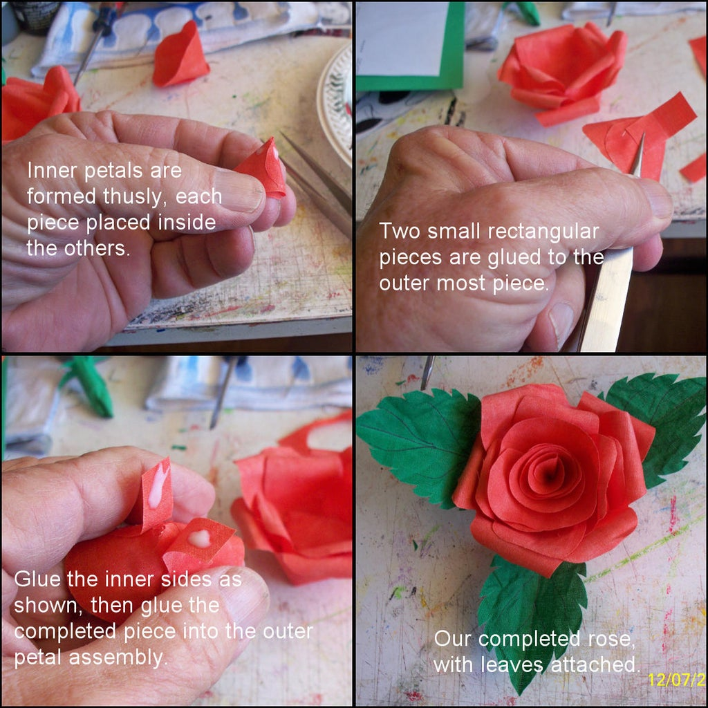 Glue Petals and Leaves to Make Flower