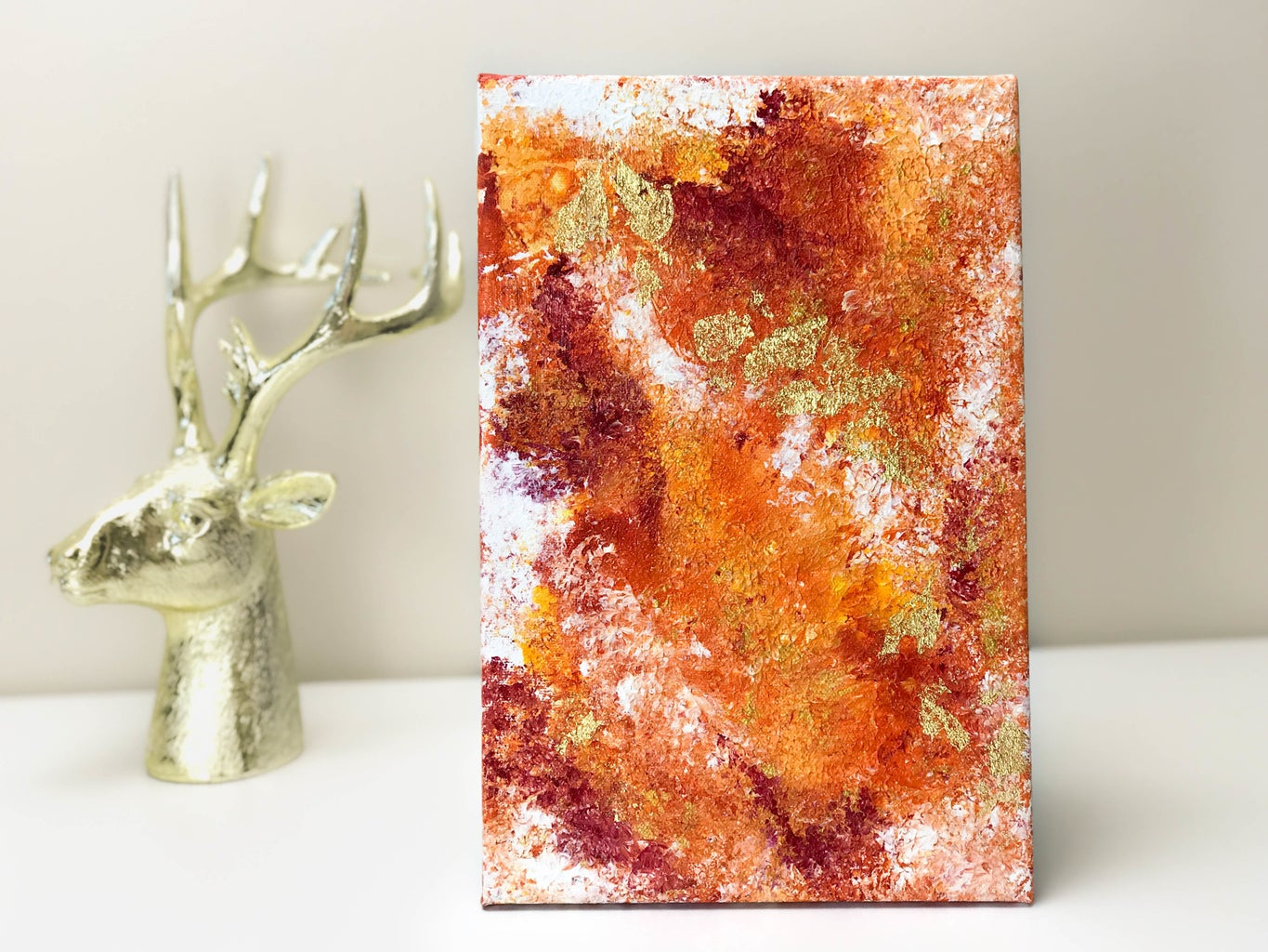 Red-Orange Abstract Art