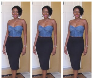 DIY Bustier Made From Old Blue Jeans