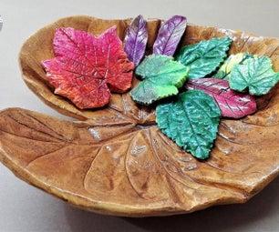 如何制作混凝土铸叶碗|象耳水泥叶|石膏巴黎叶。
